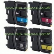 Set de 4 cartouches compatibles LC985 BK, C, M, Y