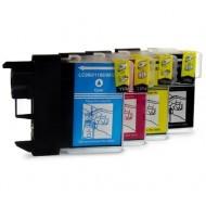 Set de 4 cartouches compatibles LC1100 / LC980 BK, C, M, Y