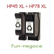 Set de 2 cartouches remanufacturées HP45 XL, HP78 XL