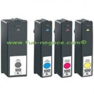 Set de 4 cartouches compatibles Lexmark 100 BK, C, M, Y