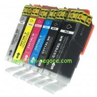 Set de 6 cartouches compatibles PGI570XL / CLI571XL BK, C, M, Y, GY