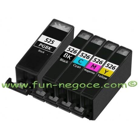 Set de 5 cartouches compatibles PGI525XL / CLI526XL BK, C, M, Y