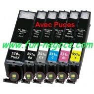 Set de 6 cartouches compatibles PGI550XL / CLI551XL BK, C, M, Y, GY