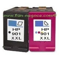 Set de 2 cartouches remanufacturées HP901 BK XL, HP901 Colors XL