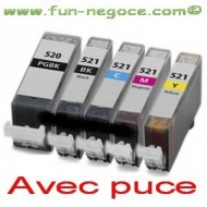 Set de 5 cartouches compatibles PGI520XL/CLI521XL BK, C, M, Y