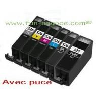 Set de 6 cartouches compatibles PGI525XL / CLI526XL BK, C, M, Y, GY