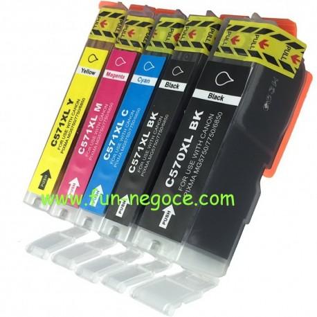 Set de 5 cartouches compatibles PGI570XL / CLI571XL BK, C, M, Y
