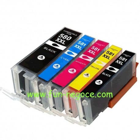 Set de 5 cartouches compatibles PGI580XXL / CLI581XXL BK, C, M, Y