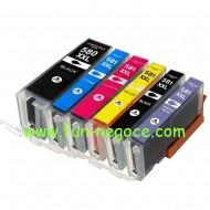 Set de 6 cartouches compatibles PGI580XXL / CLI581XXL BK, C, M, Y, PB